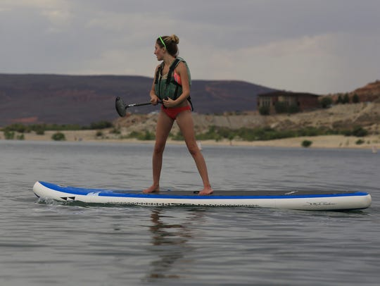 Kylee Sorensen, of St. George, tries out a stand-up