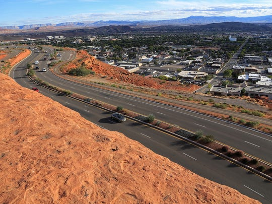 The top of the Sugarloaf offers panoramic views of Red Hills Parkway, downtown St. George and the mountains of the Arizona Strip.
