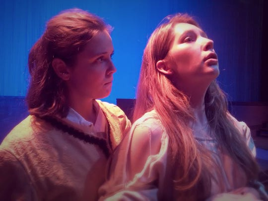 "Maeve Edwards (Leontes) and Victoria Nay (Queen Hermione) in ""The Winter's Tale"" at Lee High."