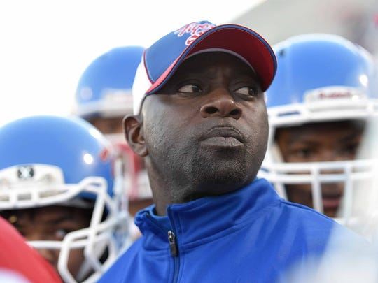 Noxubee County head coach Tyrone Shorter watches the clock on Saturday, December 5, 2015, in the MHSAA Class 4A State Football Championship in Vaught-Hemmingway Stadium on the Ole Miss  campus in Oxford, Miss.