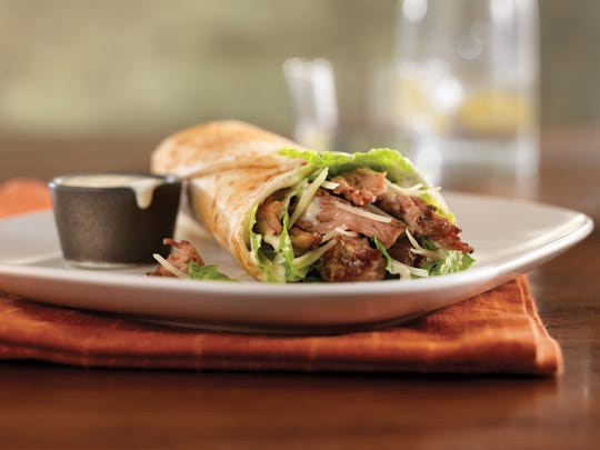 If you like, pulled pork Caesar wraps can be spked with red onion.
