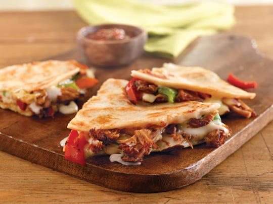 Before serving, keep pulled pork quesadillas at temperature