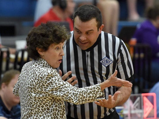 Jackson Academy head coach Jan Sojourner lobbies her case with an official after a call went against the Lady Raiders on Saturday, February 20, 2016, at Jackson Prep in Flowood, Miss.