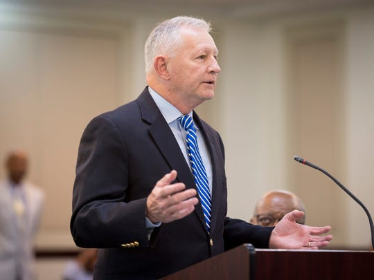 Deputy District Attorney Tom Thurman speaks during a hearing at the Justice A.A. Birch Building, Tuesday, March 29, 2016, in Nashville, Tenn.