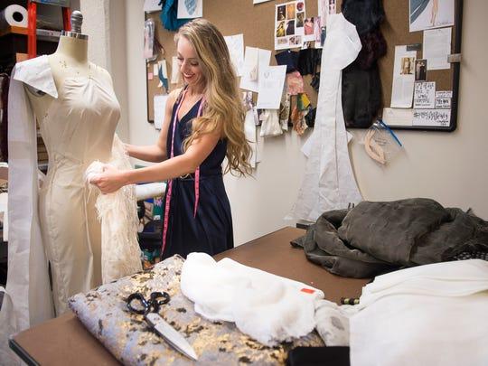 Cavanagh Baker works on designs for her luxury women's wear company Stowe.