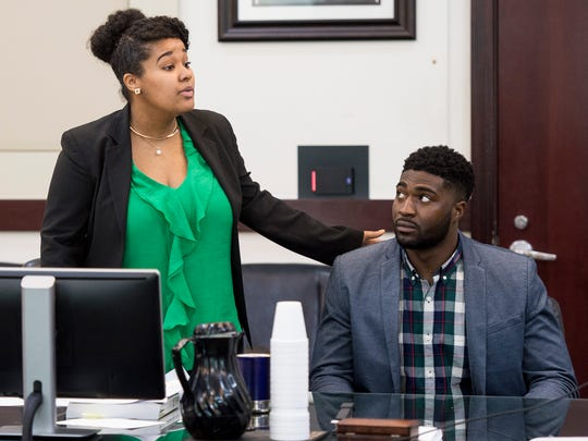 Attorney Courtney Teasley and Cory Batey during a hearing at the Justice A.A. Birch Building, Friday, April 1, 2016, in Nashville, Tenn.