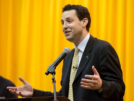 Bryce Drew speaks after being introduced as Vanderbilt University men's basketball's new head coach Wednesday, April 6, 2016 at Memorial Gym in Nashville, Tenn.