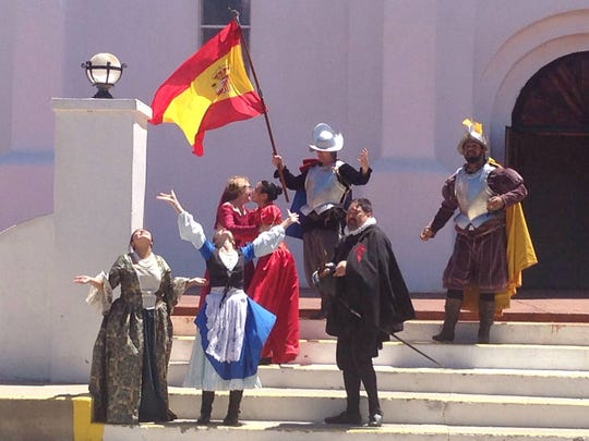 """A scene from the 2014 re-enactment of the Oñate Expedition's arrival at the Rio Grande, which was staged in front of the San Elizario Presidio Chapel. A new """"First Thanksgiving"""" re-enactment will be part of daylong festivities April 30 in San Elizario."""