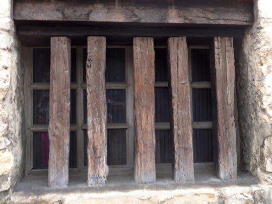 A window on an exterior wall of the Long Barrack, one of the still-standing buildings at the Alamo.