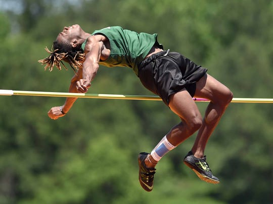 Lake Cormorant's Brandon Smith makes an attempt in the Class 5A high jump on May 7 at the MHSAA Class 1A-3A-5A State Track Championships.