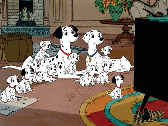 "The pups gather round for their favorite show, ""The Further Adventures of Thunderbolt,"" in 1961?s ""One Hundred and One Dalmatians."""