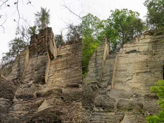 In early March, columns of rock, left, hung cantilevered out of the south wall above the Gorge Trail at Taughannock Falls State Park, left. Most of the overhanging material was pushed down into the gorge in June, leaving the bare vertical wall in July, right.