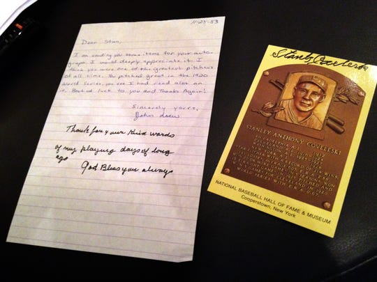 When John Loew was a boy, he wrote to Hall of Fame former baseball players and asked for an autograph. This letter, which came back with a note and an autograph, was to Stanley Coveleski, a pitcher who played in the 1910s and 1920s.