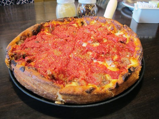 The Abe Froman deep-dish pizza features sweet Italian