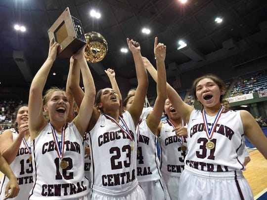 The Choctaw Central Lady Warriors celebrate with the