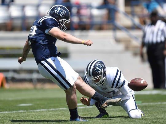 Christian Jacquemin kicks a field goal out of the hold by Adrian Salazar on Saturday, April 8, 2017, in the Jackson State University Blue and White Spring Game at Mississippi Veterans Memorial Stadium in Jackson, Miss.