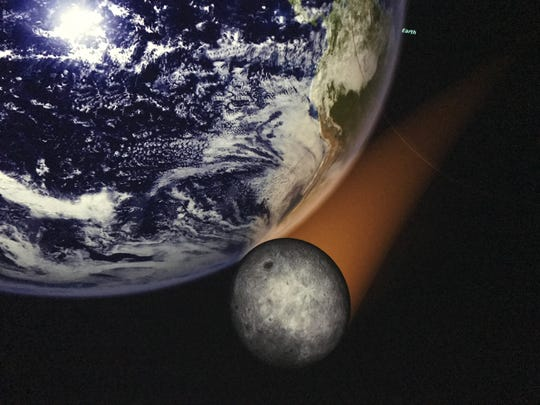 An illustration of the view from space as an eclipse passes the earth, presented at the planetarium at Roper Mountain Science Center in Greenville.