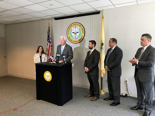 Gloucester County Prosecutor Sean Dalton announce arrests in the March 2017 death of Michael A. Fazzio in his home in Elk Township.