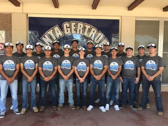 The Santa Gertrudis Academy baseball team 2016-17.
