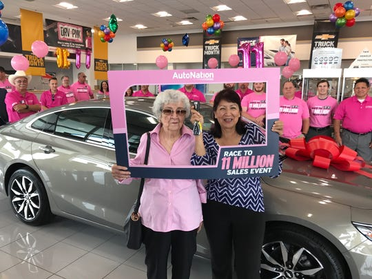 Irma Martinez received a new Chevrolet from AutoNation Chevrolet Cadillac South in Corpus Christi on May 23, 2017.