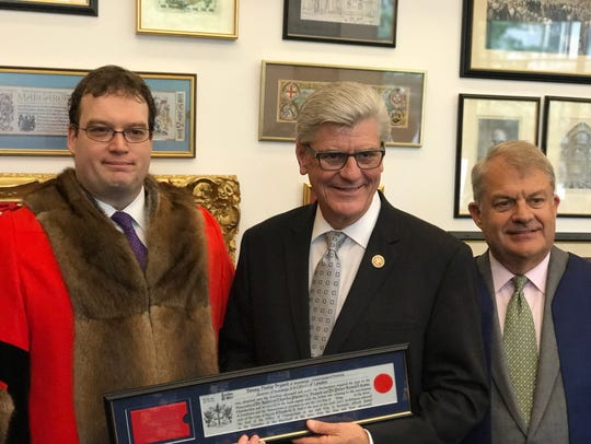 Gov. Phil Bryant during a trip to London was presented