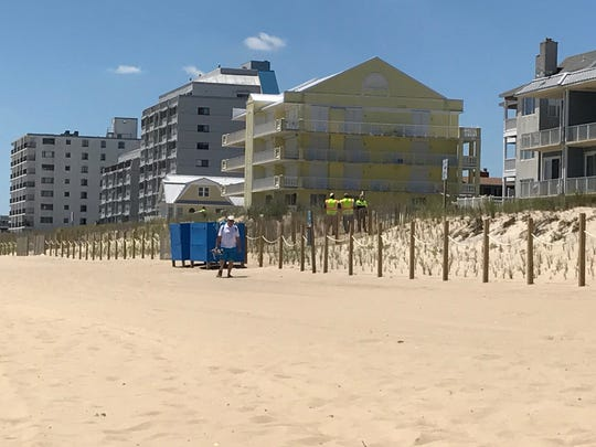 Officials at the 85th Street beach entrance are asking beachgoers to enter at a different area of the beach.