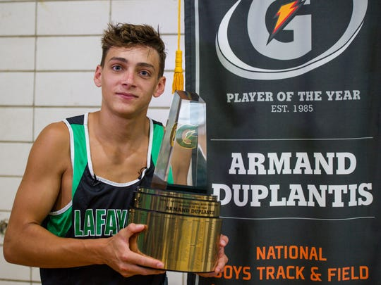Armand Duplantis is shown accepting the 2017 Gatorade Player of the Year award.