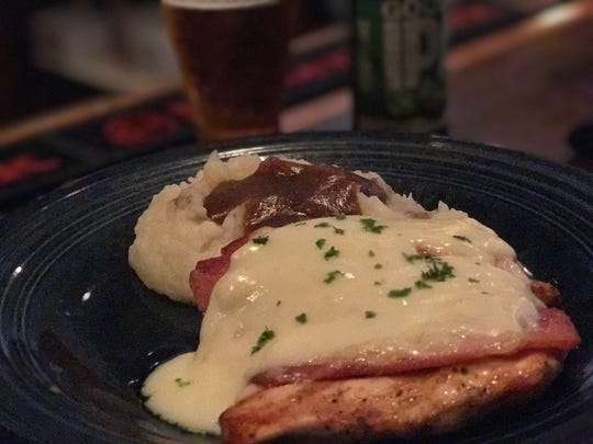 Grilled Chicken topped with country ham and Swiss finished with a white wine cream sauce. $20.95