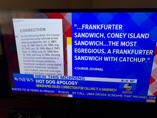 Good Morning America mentioned Courier-Journal's hot dog correction on July 22, 2017.