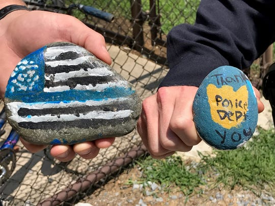 These rocks were found in the parking lot at Chambersburg Police Department. It is not known if these rocks were placed there as part of the painted-rocks project, but they definitely fit the guidelines. Chambersburg Police Chief Ron Camacho requests that the individuals who painted and placed these rocks contact him; call the department's main number, 717-264-4131.
