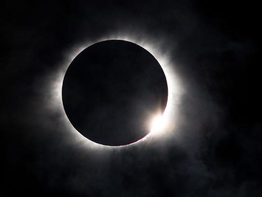 The solar eclipse as seen from Nashville, Tenn., Monday,