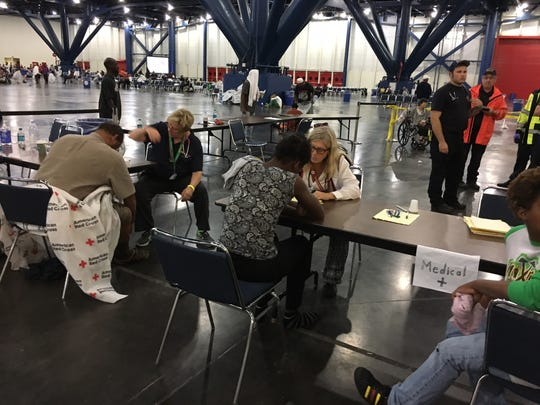 There are currently more than 2,500 flood evacuees from tropical storm Harvey sheltered in the George R. Brown convention center in downtown Houston, according to David Schoeneck, Red Cross public affairs supervisor. In addition to this Red Cross shelters, impromptu shelters have been set up at schools and businesses throughout the Houston area.