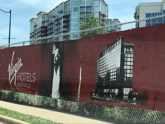 A sign at the location where  Virgin Hotels Nashville