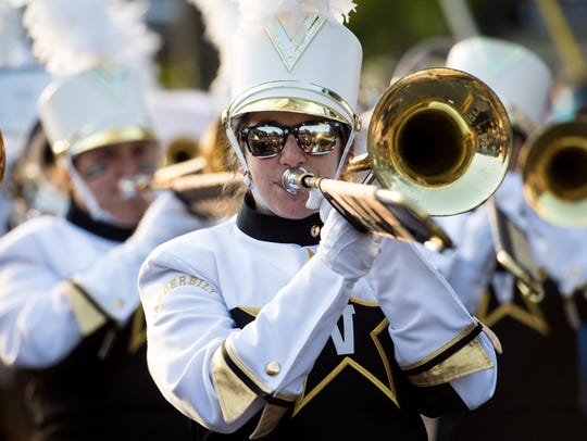 The Vanderbilt band performs before an NCAA football