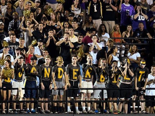 Vanderbilt fans cheer against Kansas State during the