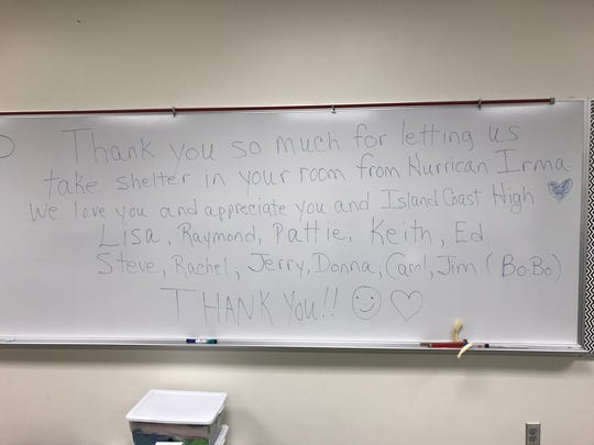 Evacuees left messages of thanks in Island Coast High School classrooms after Hurricane Irma.