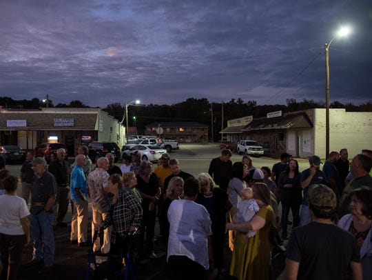 About 200 people gather Monday, October 2, 2017, before