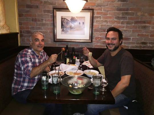 Dan Bova and Patrick at the Olive Garden in Times Square