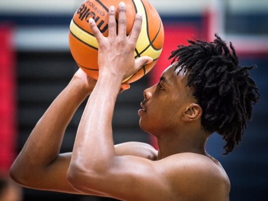 Brentwood Academy senior point guard Darius Garland shoots during practice Oct. 5, 2017.