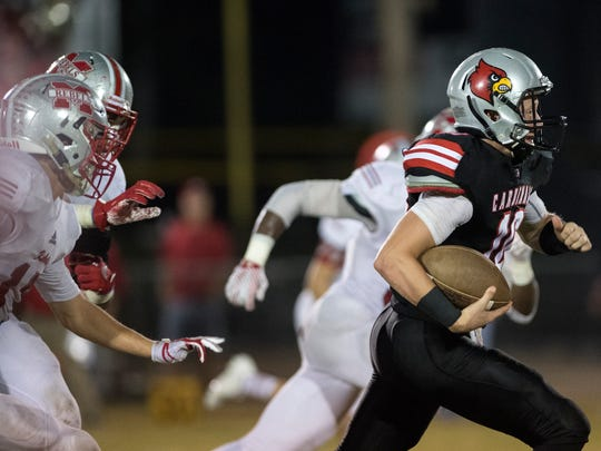 Adamsville's Colin Misenhiemer sprints with the ball
