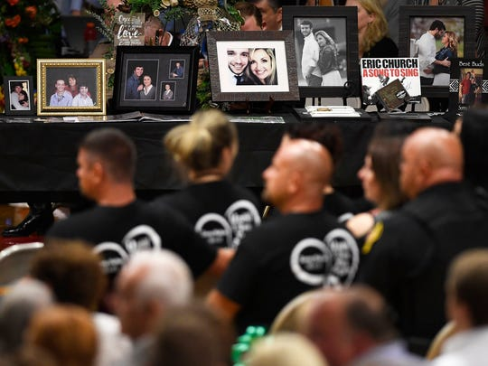 The late Sonny Melton is memorialized in photographs with friends and family Tuesday, October 10, 2017, at Sonny Melton's funeral at Big Sandy High School.