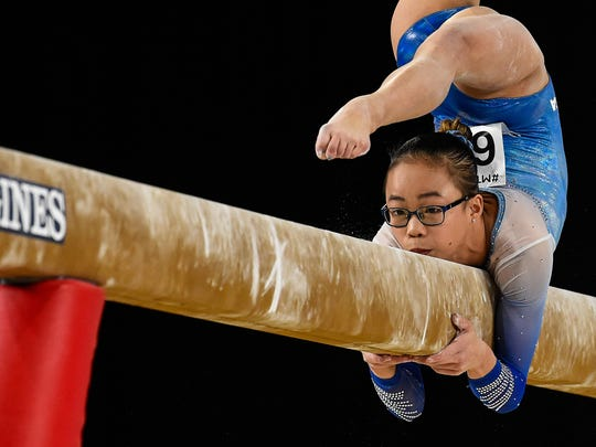 MONTREAL, QC - OCTOBER 06:  Morgan Hurd of The United States of America competes on the balance beam during the women's individual all-around final of the Artistic Gymnastics World Championships on October 6, 2017 at Olympic Stadium in Montreal, Canada.  (Photo by Minas Panagiotakis/Getty Images)