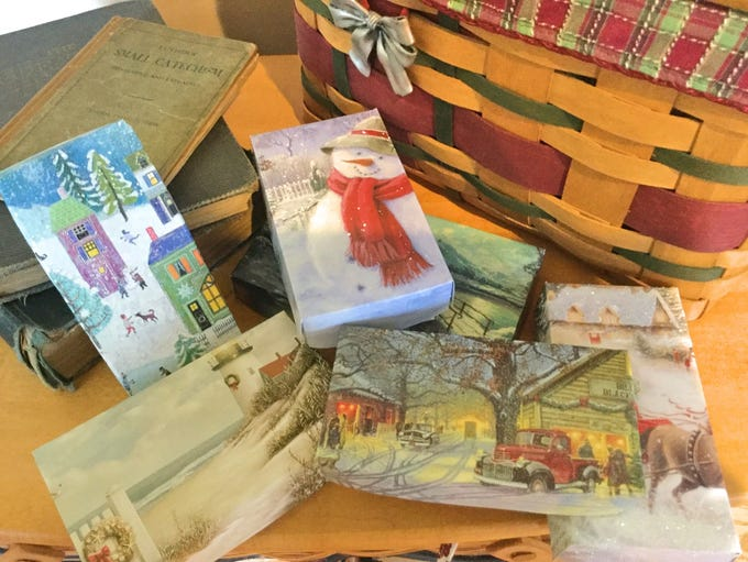Old greeting cards make great gift boxes. This year,