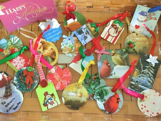 Gift tags made from greeting cards.