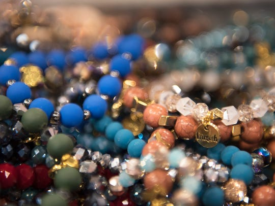 A selection of beaded bracelets are displayed Wednesday,