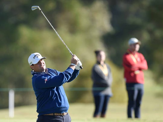Jonathan Randolph watches his fairway shot on the 18th hole on Saturday, October 28, 2017, the third day of the Sanderson Farms Championship at the Country Club of Jackson in Jackson, Miss.