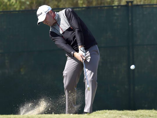 Ryan Armour tees off on the 10th hole on Saturday, October 28, 2017, the third day of the Sanderson Farms Championship at the Country Club of Jackson in Jackson, Miss.