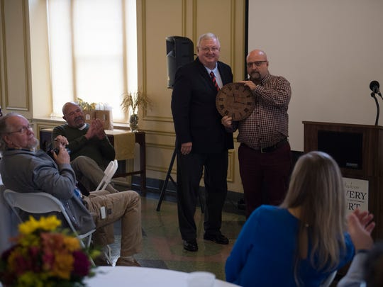 City Court Judge Blake Anderson is presented with an award from graduate Scot Brewer on Wednesday, Nov. 1, 2017, during the City of Jackson Recovery Court's Appreciation Luncheon at the New Southern Hotel in Jackson.