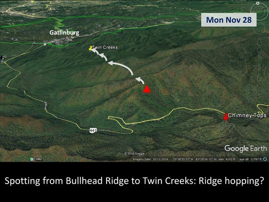 On Nov. 28, 2016, the fire began jumping from ridge to ridge, eventually reaching Twin Creeks near Gatlinburg.