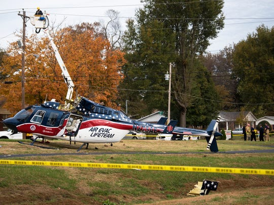 An air evacuation life team helicopter crash landed Wednesday, Nov. 8, 2017, in the area of Harrison Street and South Home Street in Union City.